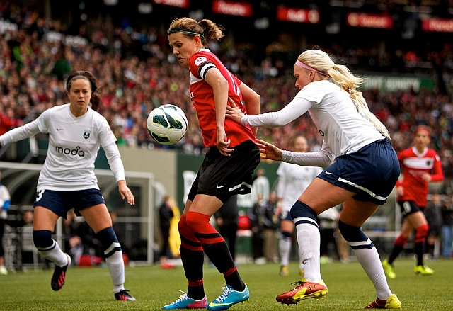 Christine Sinclair must have done this to Kaylyn Kyle like, eighty times in practice. Photo courtesy Craig Mitchelldyer/Portland Thorns FC
