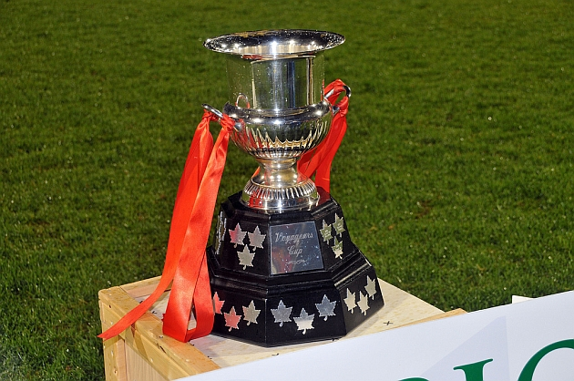 The winner of the Canadian Championship is awarded the Voyageurs Cup. Photo courtesy Jason Gemnich/CSA