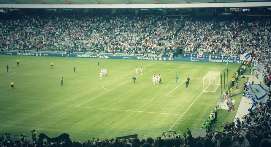 Players exhale after the Vancouver Whitecaps' 3-1 win over the LA Galaxy at BC Place. Photo courtesy frostcake